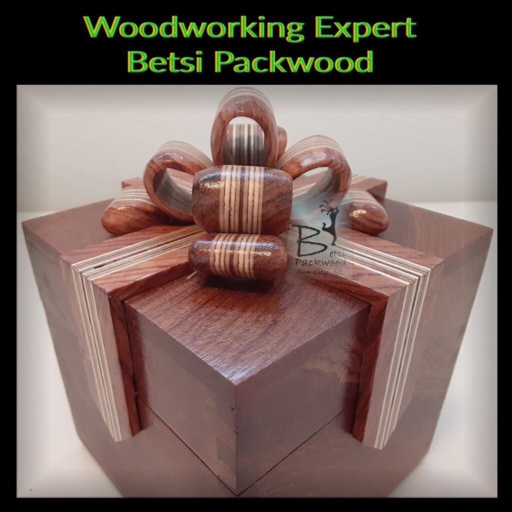 Woodworking Bow Box by Betsi Packwood as a gift for Duchess Boyles.