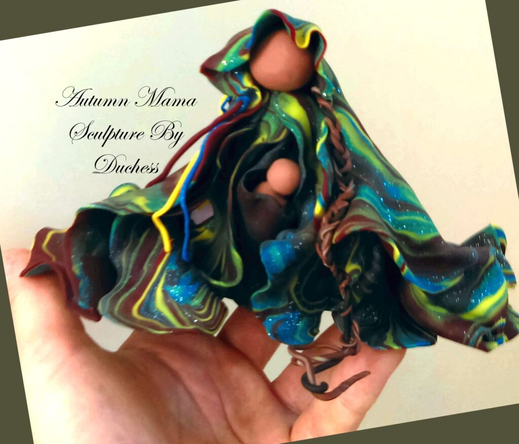 Autumn Mama with Baby Sculpture by Duchess Boyles July 2012