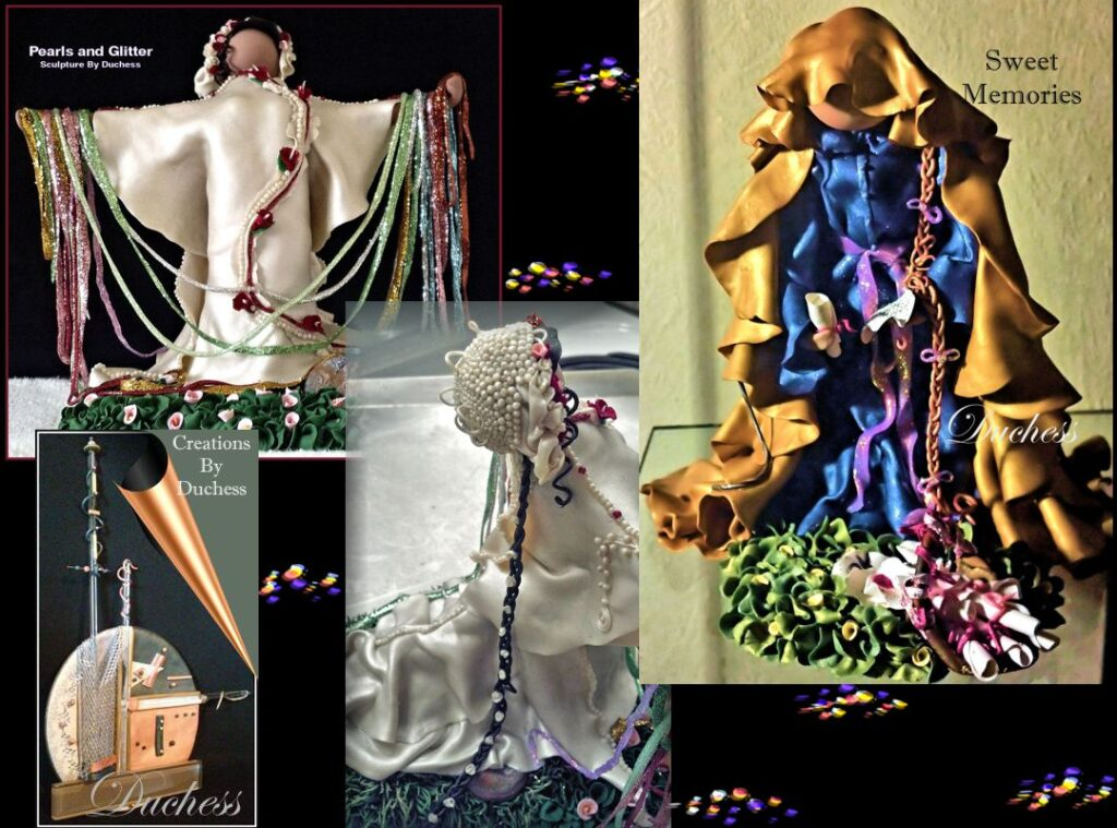 Sculptures by Duchess Boyles range in size from miniature sculptures to ten inches tall sculptures.